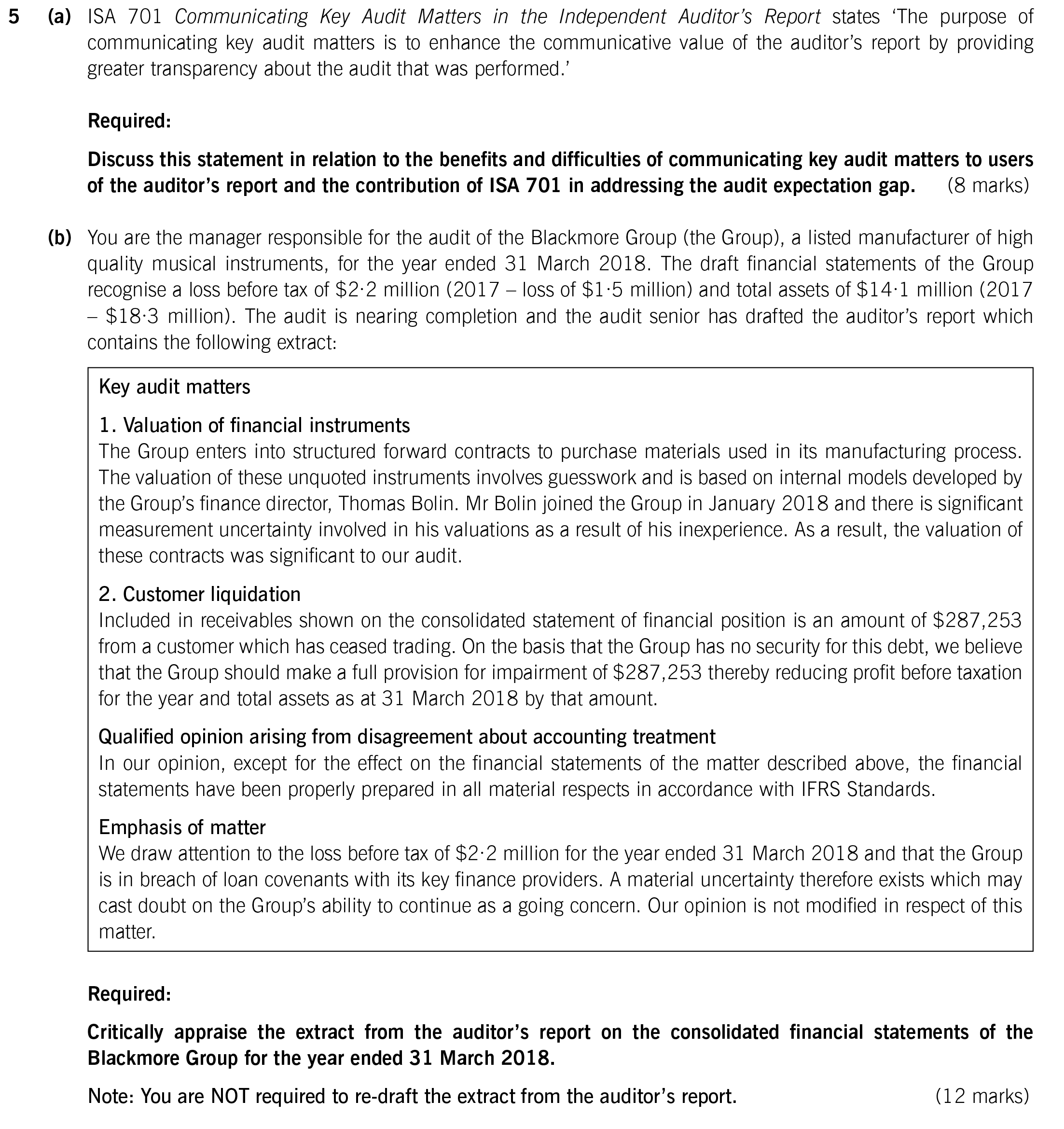 ACCA AAA (P7 INT) Past papers - Question 5 - <time datetime