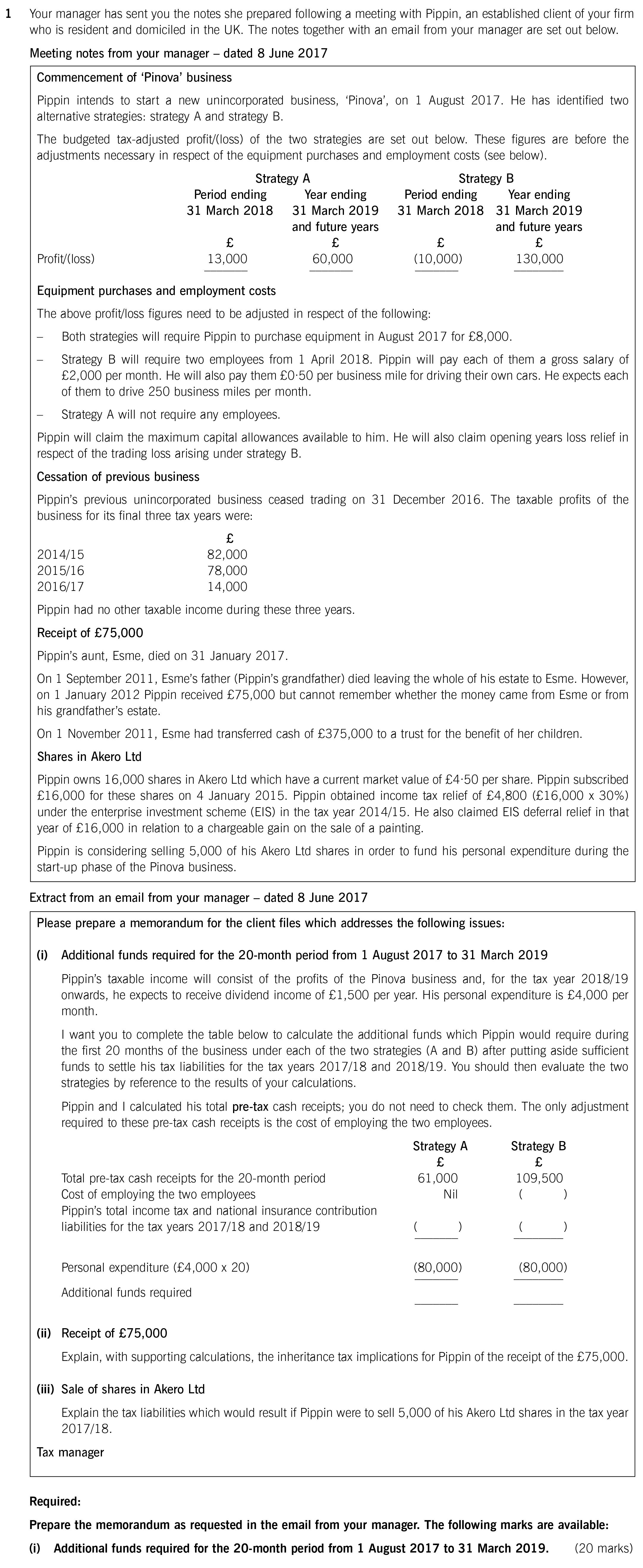 ACCA ATX P6 UK Past papers exam Q1i